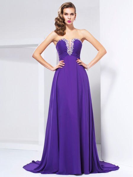 A-Line/Princess Sweetheart Beading Ruched Dress with Long Chiffon