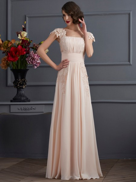 A-Line/Princess Square Short Sleeves Lace Dress with Long Chiffon
