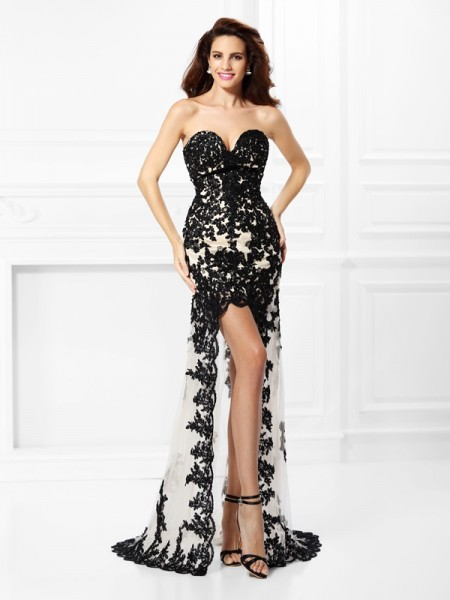 A-Line/Princess Sweetheart Lace High Low Elastic Woven Satin Dress