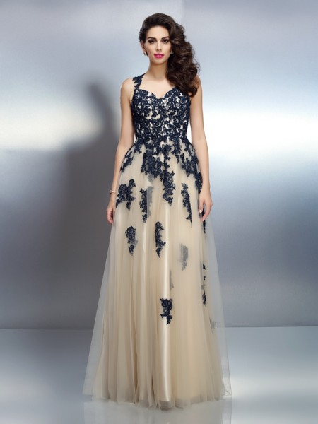 A-Line/Princess Straps Applique Long Elastic Woven Satin Dress