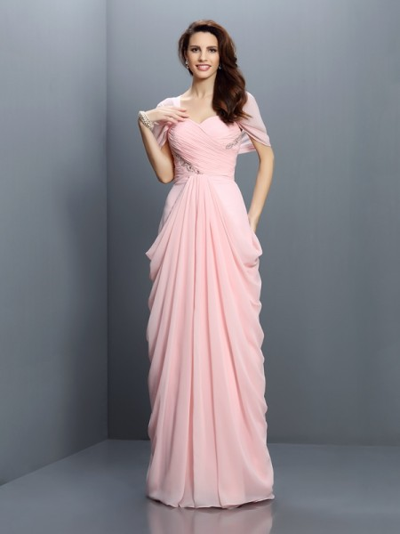 A-Line/Princess Sweetheart Pleats Short Sleeves Bridesmaid Dress with Long Chiffon