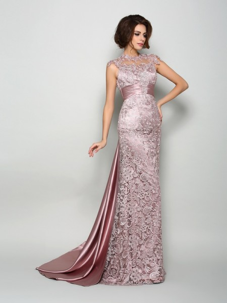 A-Line/Princess High Neck Long Elastic Woven Satin Mother of the Bride Dress