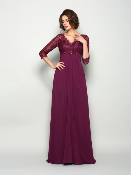 A-Line/Princess V-neck Beading Mother of the Bride Dress with Long Chiffon