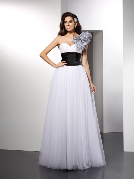 A-Line/Princess One-Shoulder Sash/Ribbon/Belt Long Net Dress