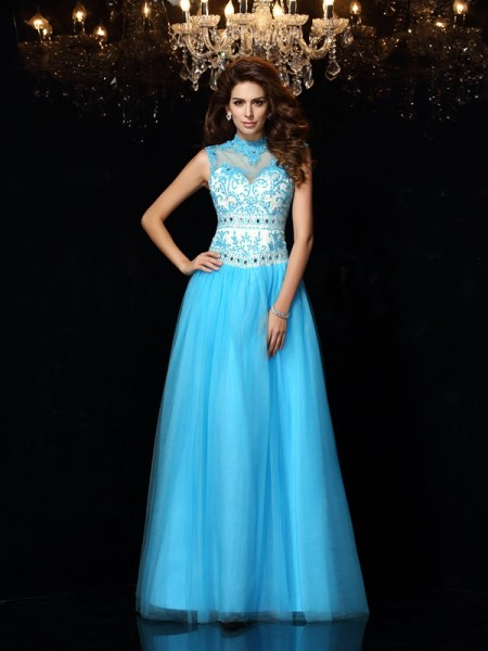 A-Line/Princess High Neck Applique Long Satin Dress
