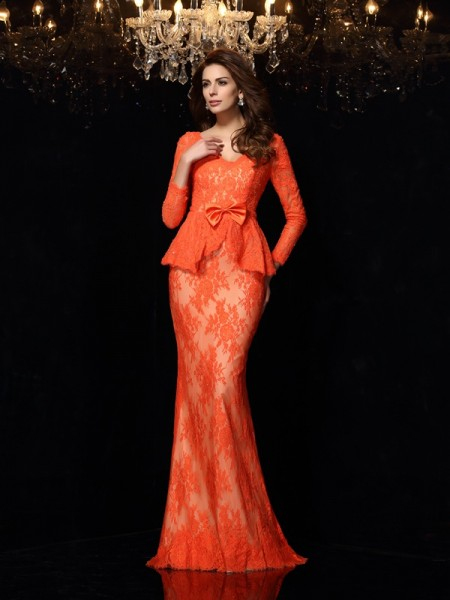 Sheath/Column V-neck Bowknot Long Sleeves Long Lace Dress