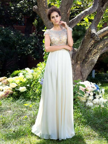 A-Line/Princess Sheer Neck Short Sleeves Dress with Long Chiffon