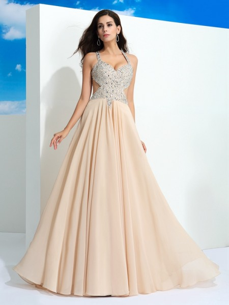 A-Line/Princess Straps Beading Chiffon Dress