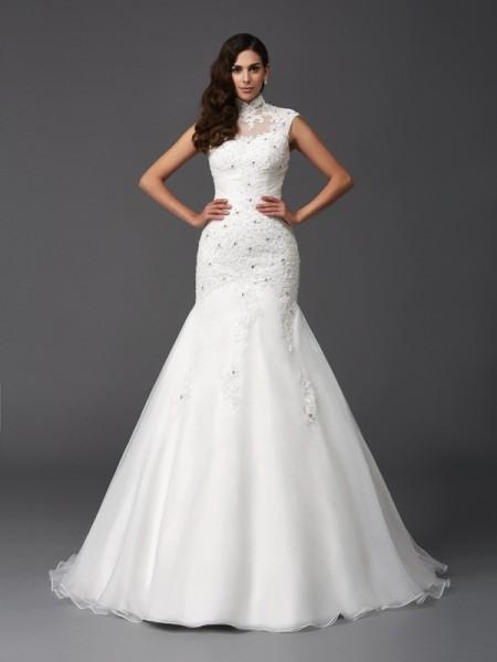 Trumpet/Mermaid High Neck Beading Long Organza Wedding Dress