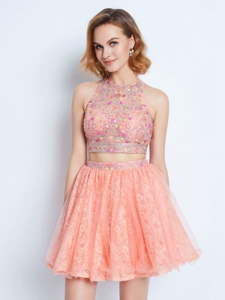 A-Line/Princess Jewel Lace Short/Mini Two Piece Dress