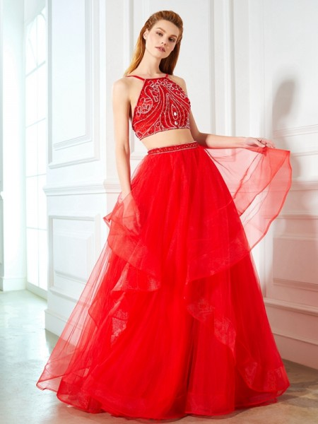 A-Line/Princess Spaghetti Straps Floor-Length Tulle Two Piece Dress