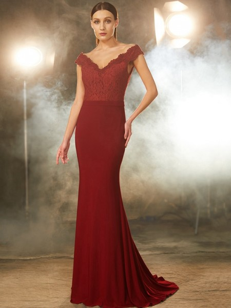 Trumpet/Mermaid Off-the-Shoulder Lace Spandex Sweep/Brush Train Dress