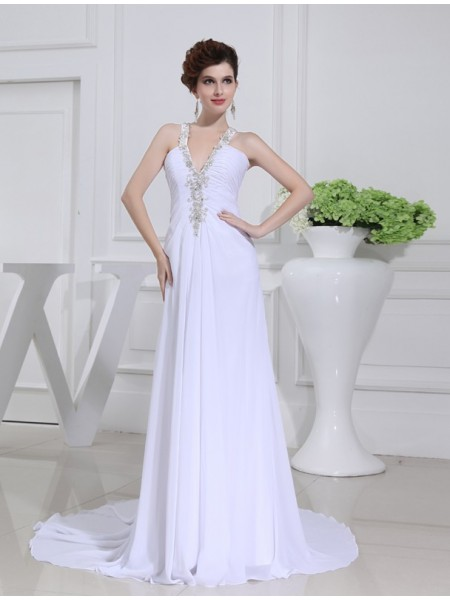 A-Line/Princess V-neck Chiffon Wedding Dress