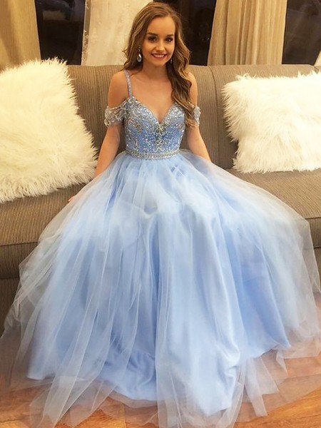 A-Line/Princess Off-the-Shoulder Floor-Length Tulle Beading Dress
