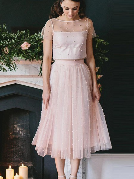 A-Line/Princess Tulle Scoop Tea-Length Two Piece Dress