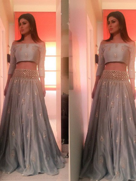 A-Line/Princess Off-the-Shoulder 3/4 Sleeves Floor-Length Satin Two Piece Dress