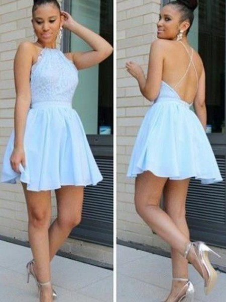 A-Line/Princess Halter Lace Short/Mini Chiffon Dress