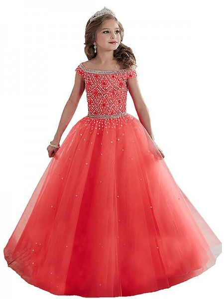 Ball Gown Off-the-Shoulder Beading Floor-Length Tulle Flower Girl Dress