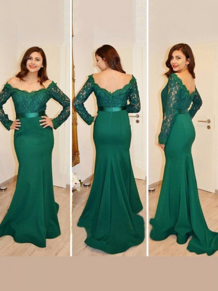 Trumpet/Mermaid Off-the-Shoulder Long Sleeves Applique Floor-Length Satin Dress