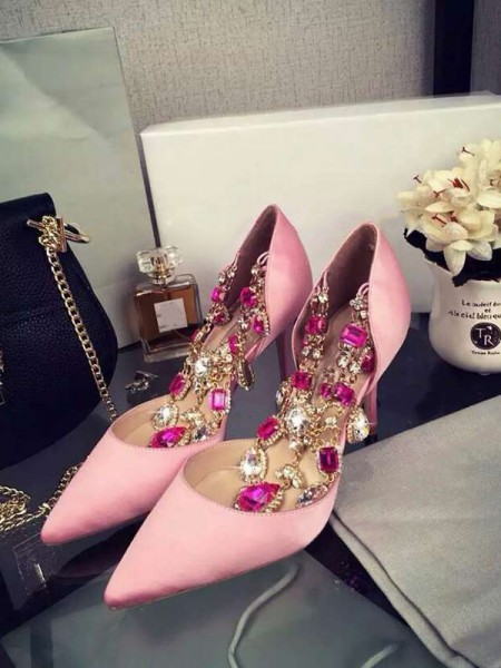 Pink Satin Chain High Heels S3LSDN050414LF